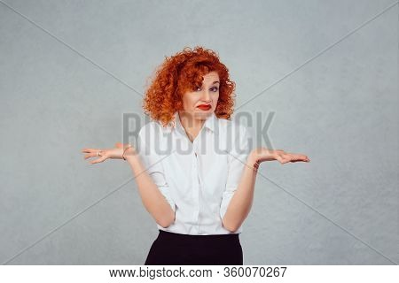 I Have No Idea. Portrait Dumb Looking Woman Arms Out Shrugs Shoulders Who Cares So What I Don't Know