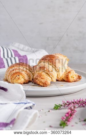 Fresh Baked Croissants. Warm Fresh Buttery Croissants And Rolls. French And American Croissants And