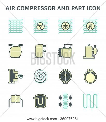 Air Compressor And Part Icon Set Design.