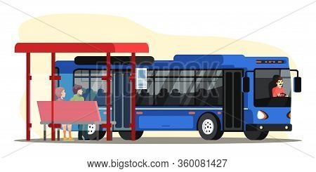 Vector Character Illustration Of People On Bus Station. Man And Woman Sitting At Stop And Waiting Fo