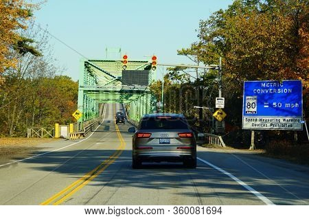Ontario, Canada - October 27, 2019 - The View Of The Traffic Into Thousands Islands Bridge Crossing