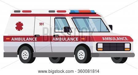 Ambulance Car Isolated On White Background. Special Medical Vehicle. Hospital Transport For Emergenc