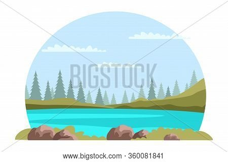 Cropped Natural Landscape On White Background. Rounded Panoramic Scene. Cloudy Sky, Mountain, Green