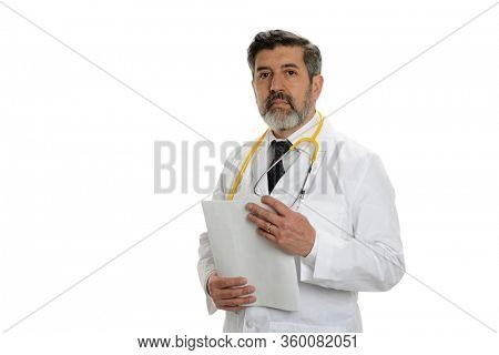 Mature hispanic doctor holding papers and wearing a stethoscope isolated on a white background