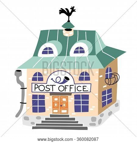 Post Office Flat Vector Illustration. Postal Station Isolated On White Background. Cartoon Old Fashi