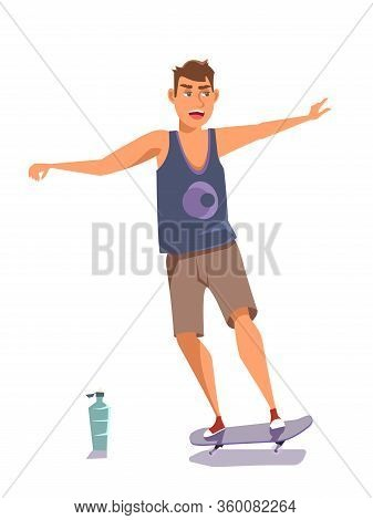 Teenager On Skateboard Flat Vector Illustration. Young Smiling Skateboarder, Skater In Summer Clothe