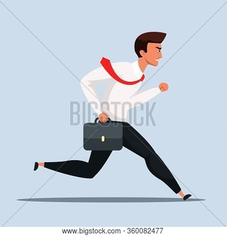 Businessman Or Office Worker In Tie With Briefcase Rushing To Job Cartoon. Overworked Executive Mana