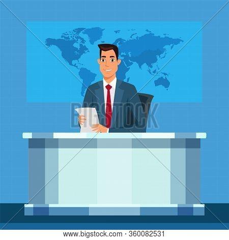 Tv Broadcasting Presenter Vector Illustration. Anchorman Flat Character. Linkman, Announcer, Broadca