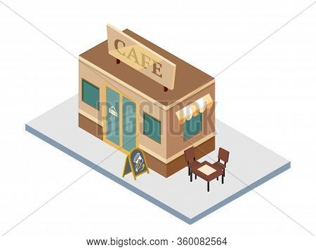 Cafe Isolated On White Background. Isometric Bistro With Outdoor Terrace Facade. Modern Restaurant B