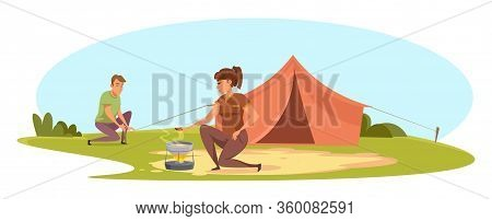 Man And Woman Having Camping Trip On Nature. Young Family Couple Travelling Together. Boyfriend Pitc