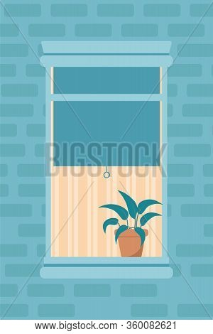 Apartment Window Outdoor View Flat Illustration. Residential Building Exterior, Brick Wall. Neighbou