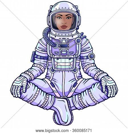 Animation Figure Of The Black Woman Astronaut In A Space Suit Sitting In Buddha Pose. Vector Illustr