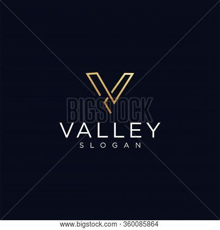 Letter V Logo Line Luxury Gold Design Vector Template . Gold Luxury Boutique Letter V Logo Line Stoc