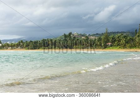 Coastline With Palm Trees Along Beach And Lush Hills In Distance