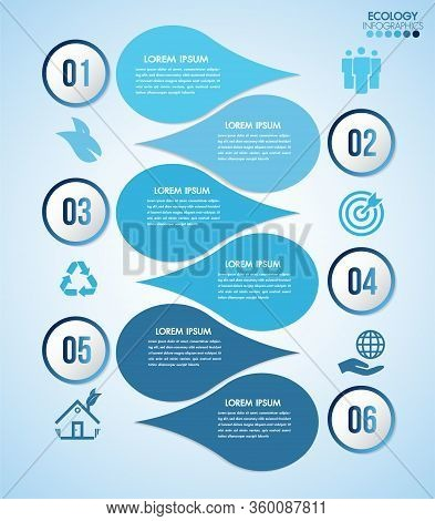 Infographic Eco Water Blue Design Elements Process 6 Steps Or Options Parts With Drop Of Water. Ecol