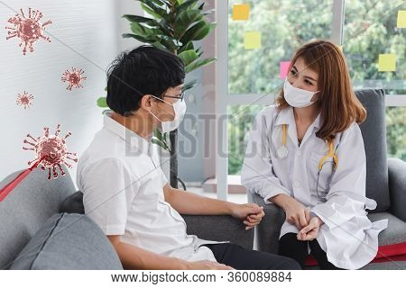 Young Asian Female Doctor With Stethoscope Consulting Patient In Hospital Office. Health Care And Me