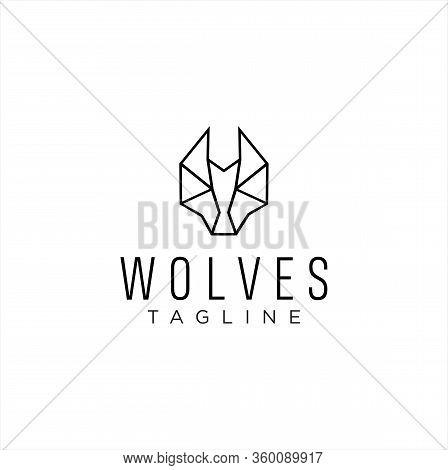 Simple Head Wolf Logo Line Design . Wolves Logo Linear Design Template.