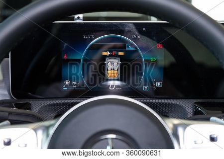Novosibirsk, Russia - April 02, 2020  New Mercedes Benz A200,  Round Speedometer, Odometer With A Ra