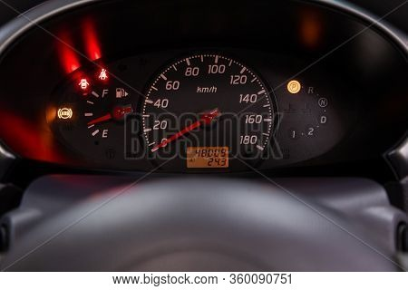 Novosibirsk, Russia - April 02, 2020  Nissan March,  Round Speedometer, Odometer With A Range Of 48