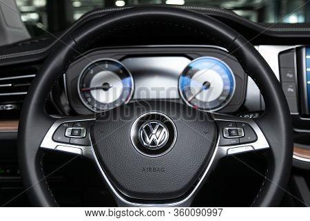 Novosibirsk, Russia - April  02, 2020  Volkswagen Touareg, Auto Interior: Steering Wheel With Red Lo
