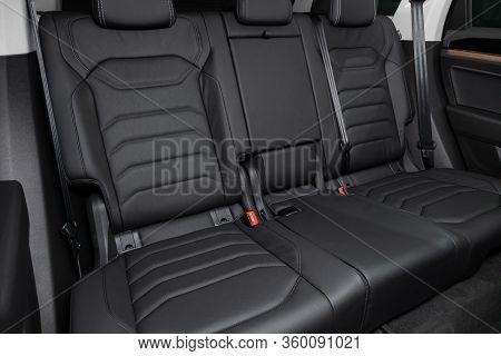 Novosibirsk, Russia - April  02, 2020  Volkswagen Touareg, Leather Interior Design, Car Passenger  S