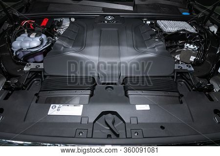 Novosibirsk, Russia - April  02, 2020  Volkswagen Touareg,  Car Engine Close-up. Internal Combustion