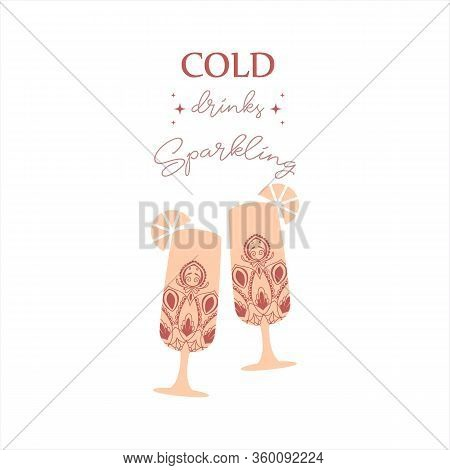 Two Auburn Red Glasses With Angela And Amarula. Vector