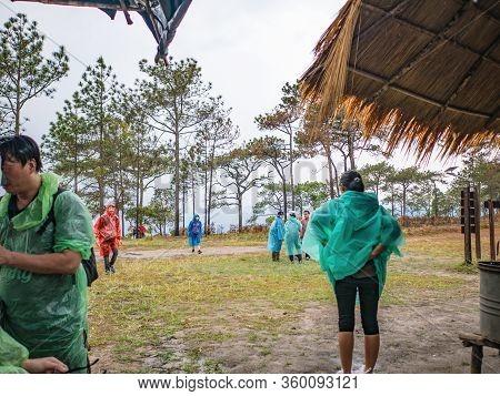 Loei/thailand-17 Feb 2019:unacquainted Tourist On Phu Kradueng Mountain National Park In Loei City T