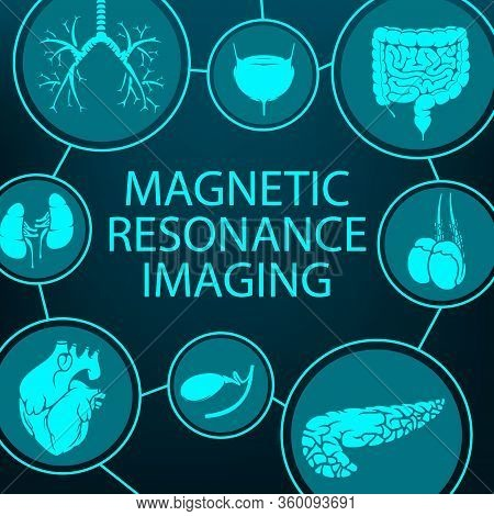 Mri Magnetic Resonance Imaging, Medical Diagnostic And Healthcare Clinic Radiology, Vector Poster. M