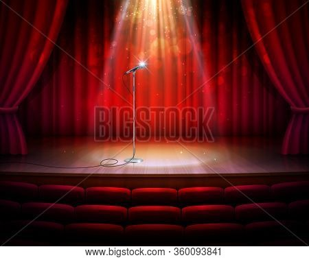 Stage With Red Curtains, Microphone And Spotlight, Vector Realistic Background. Theater, Cabaret Sho