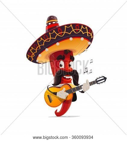 Mexican Red Chili Pepper Mariachi Character In Sombrero Playing The Guitar. Isolated Cartoon Vector