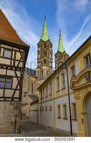 Empty Ancient Street With Colorful Houses. View On  Bamberg Cathedral. Old Town Bamberg , Unesco Wor