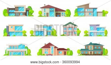 Private Houses And Hones, Reals Estate Facades Vector Flat Icons. Residential Villas And Mansion Bui