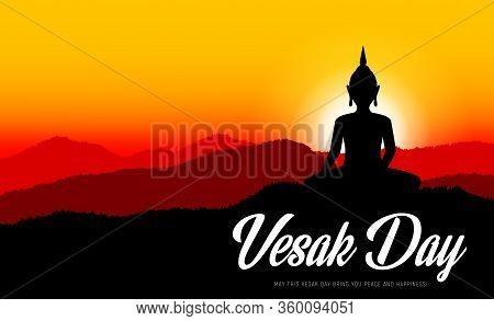Vesak Day Or Buddha Day, Traditional Buddhism Religion Holiday, Vector. Vesak Day Buddha Statue Silh