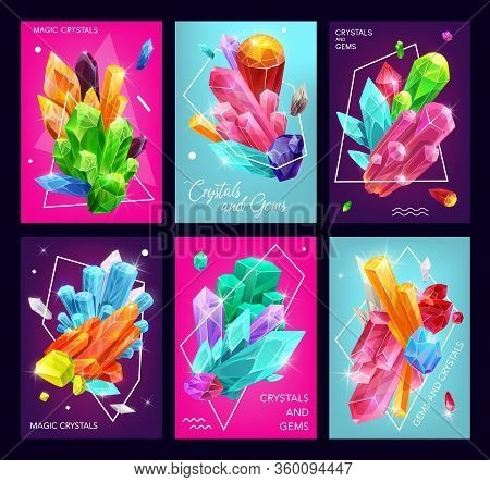 Magic Crystal And Gem Vector Banners Of Gemstones, Jewelry Stones And Mineral Rocks. Diamonds, Quart
