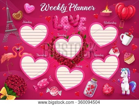 Weekly Planner With Heart Frames, Girl Daily Schedule Organizer, Vector School Plan. Weekly Planner