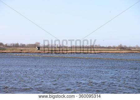 Wind Runs Over The Water Storage And Rowing Facility Eendragtspolder In Zevenhuizen In The Netherlan