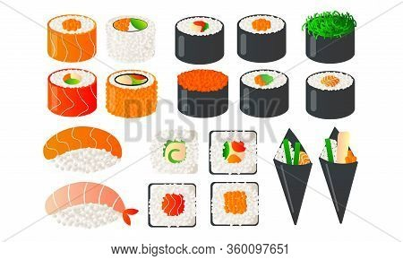 Set Of Japanese Food With Sushi Chopsticks And Bowls With Wasabi Soy. Vector Illustration In Flat Ca