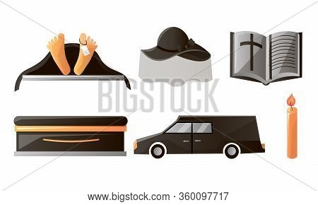 Set Of Items Used At The Funeral Service And Ceremony. Vector Illustration In Flat Cartoon Style.