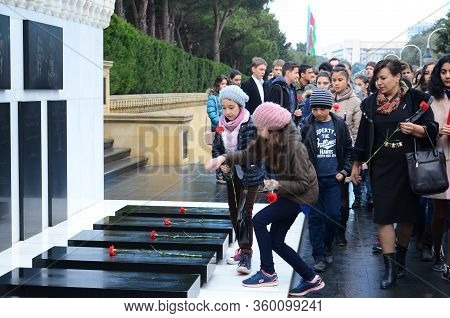 People And The Tourists Visiting Alley Of Martyrs On Anniversary Of 20th January Tragedy When Soviet