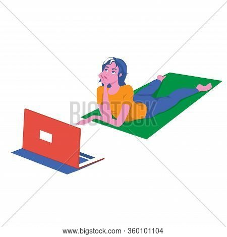Girl On A Sports Rug In Front Of A Laptop Ponders Her Online Activities. Remote Access To Self-devel