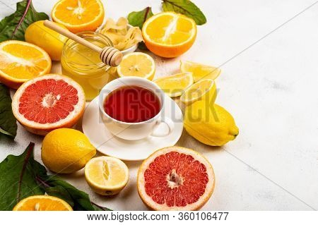 Healthy Products For Immunity Boosting Or Diet Food Top View. Vegetables And Fruits To Boost Immune