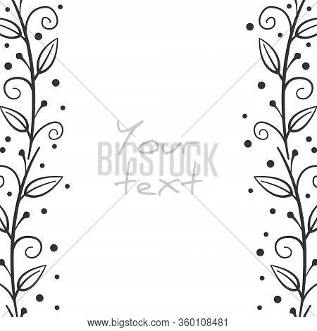 Abstract Floral Borders; Vertical Foliate Frame With Curls For Greeting Cards, Invitations, Wedding