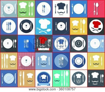 Icons For Food Service Delivery, Eatery, Snack-bar, Lunchroom, Bar, Bistro, Tavern; Fast Food, Cafe,
