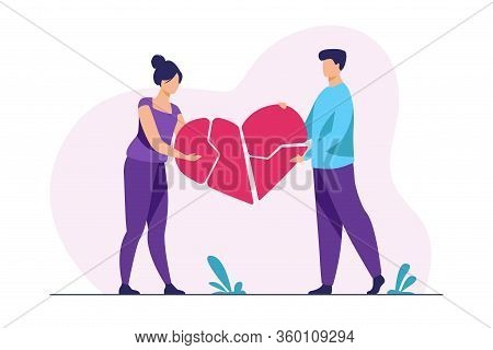 Couple Mending Broken Pieces Of Heart. Young Man And Woman Holding Red Heart Shape With Cracks. Vect