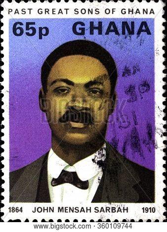 02.11.2020 Divnoe Stavropol Territory Russia The Postage Stamp Ghana 1980 Famous Ghanaians John Mens