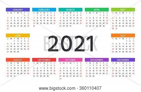 Calendar 2021 Year. Vector. Week Starts Sunday. Stationery Template. Yearly Calender Organizer With