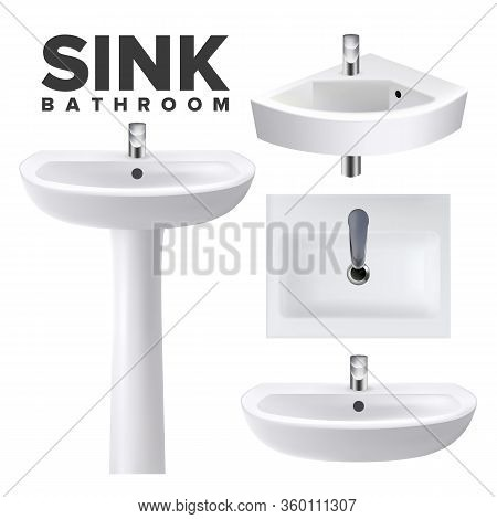 Bathroom Sinks For Wash Hands And Face Set Vector. Collection Of Different Design Restroom Ceramic S