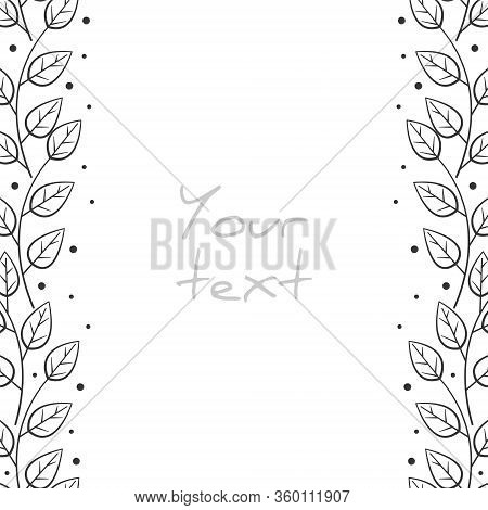 Abstract Floral Borders; Vertical Foliate Frame For Greeting Cards, Invitations, Wedding Cards, Post