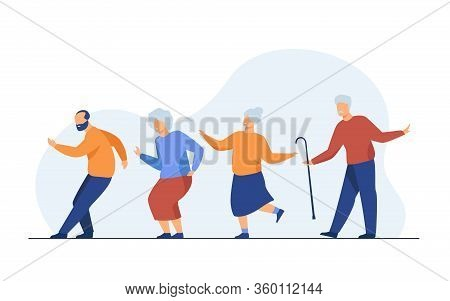 Happy Senior People Dancing At Party. Cartoon Grey Haired Old Men And Women Enjoying Music In Club,